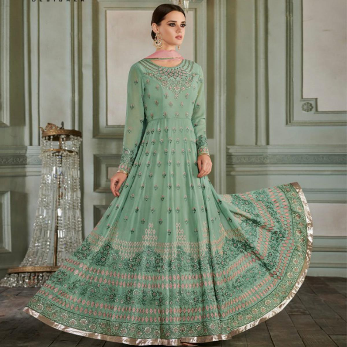 Hypnotic Pastel Green Colored Partywear Embroidered Georgette Anarkali Suit