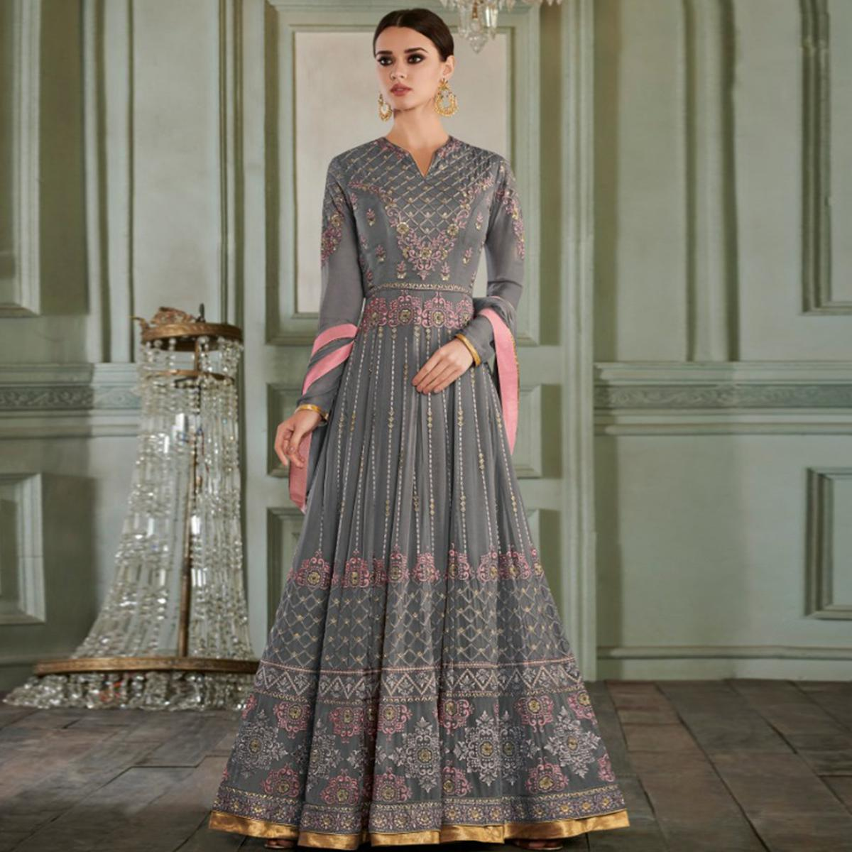 Marvellous Gray Colored Partywear Embroidered Georgette Anarkali Suit