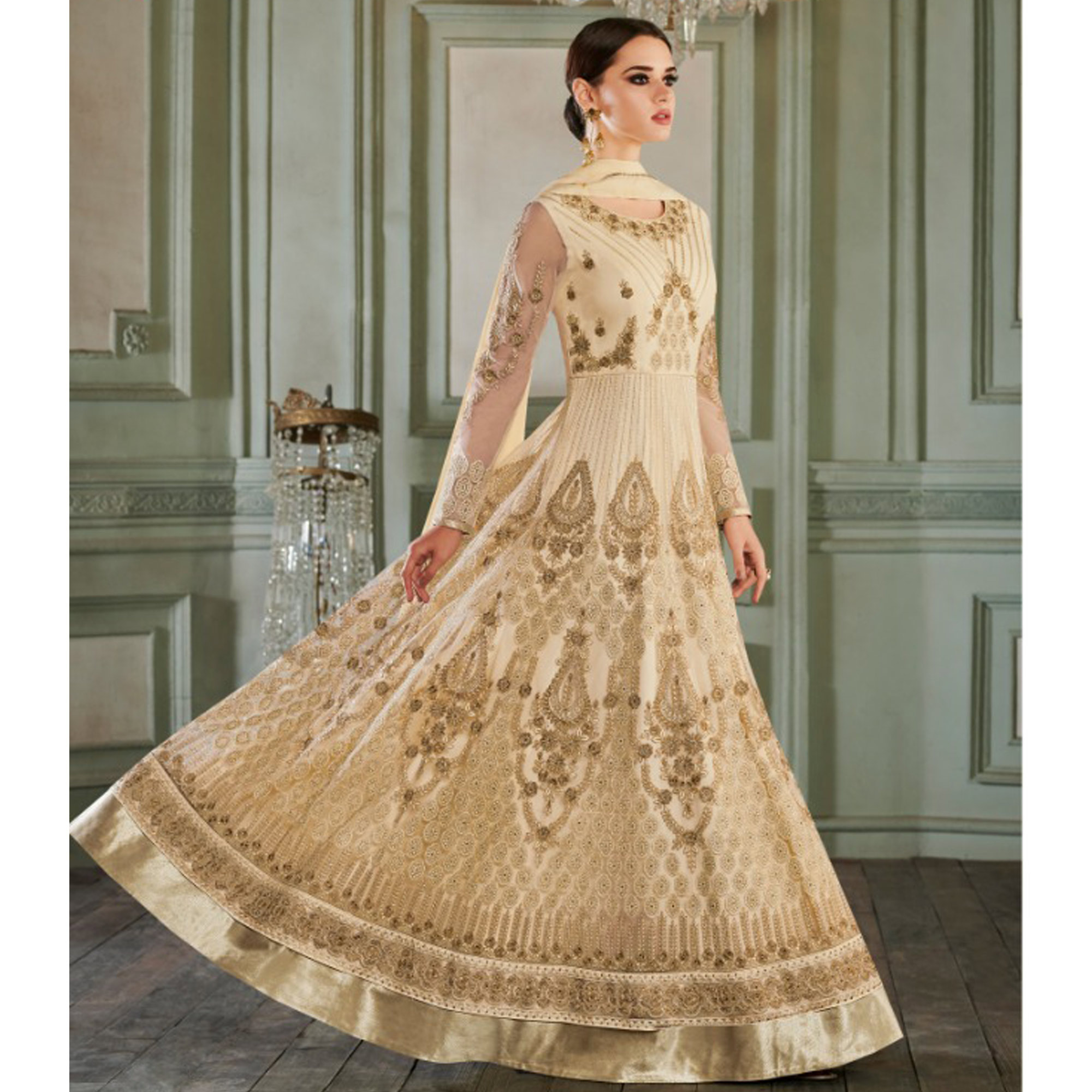 Classy Cream Colored Partywear Embroidered Netted Anarkali Suit