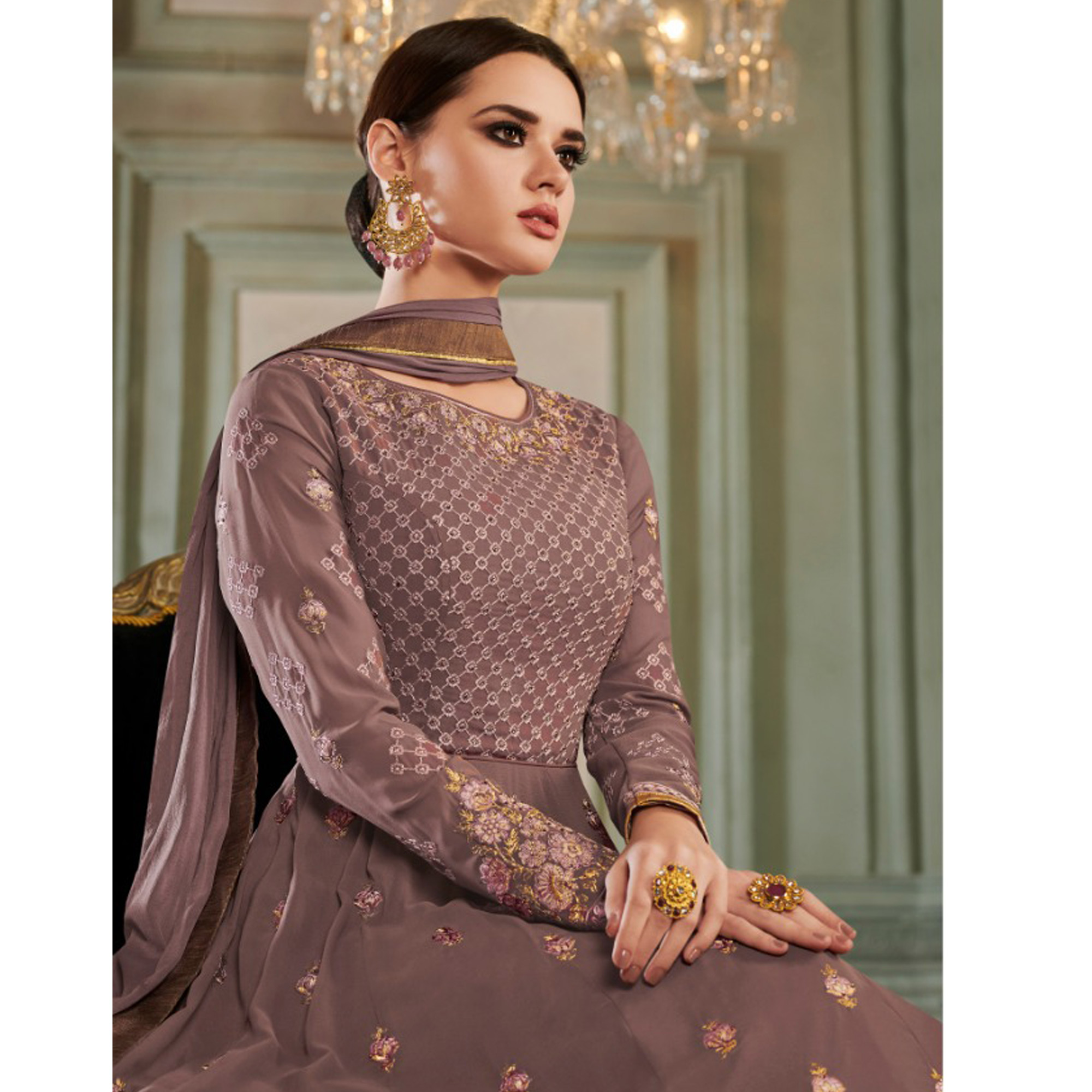 Stunning Pastel Wine Colored Partywear Embroidered Georgette Anarkali Suit