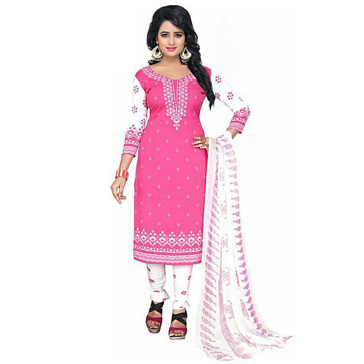 Sensational Pink Colored Casual Wear Printed Crepe Salwar Suit