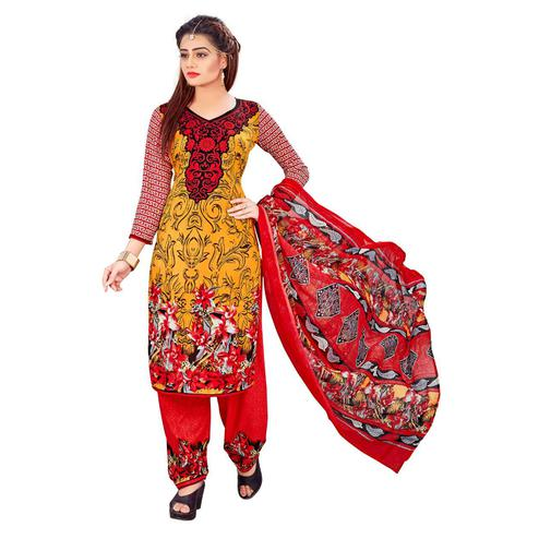 Opulent Yellow Colored Casual Wear Printed Crepe Salwar Suit