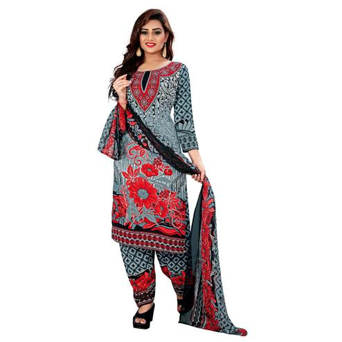 Dazzling Grey Colored Casual Wear Printed Leon Salwar Suit