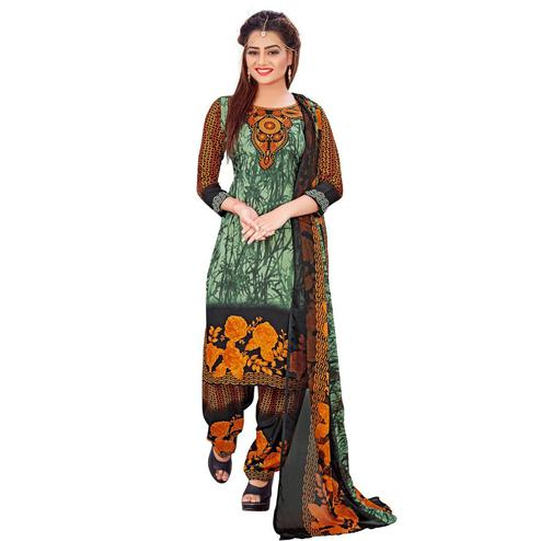 Breathtaking Green Colored Casual Wear Printed Crepe Salwar Suit