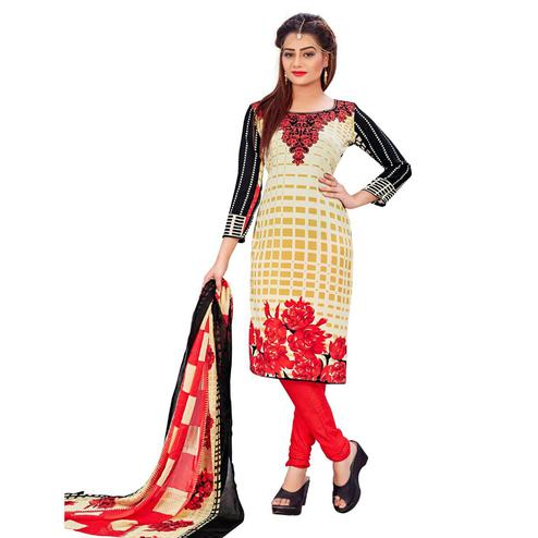 Impressive Cream Colored Casual Wear Printed Leon Salwar Suit