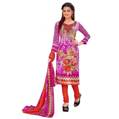 Exotic Pink Colored Casual Wear Printed Leon Salwar Suit
