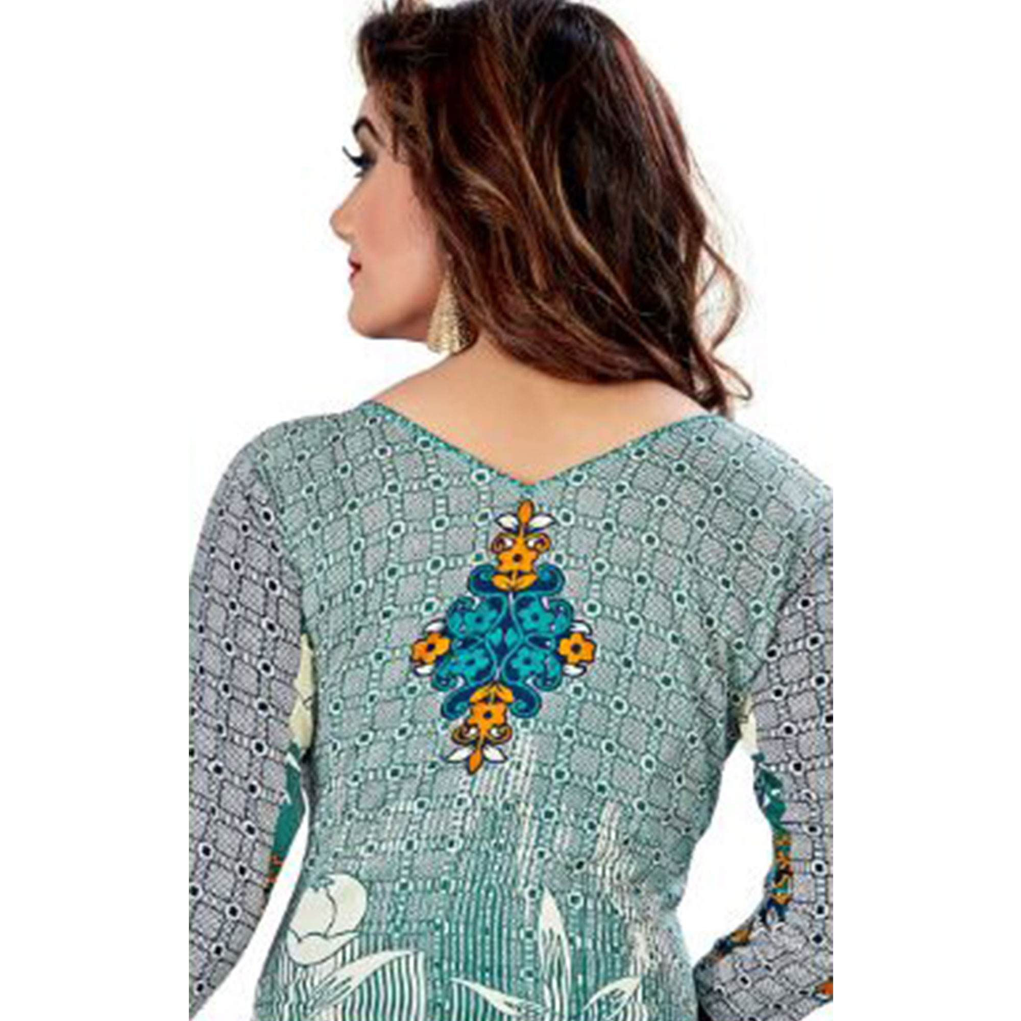 Preferable Sky Blue - Off White Colored Casual Wear Printed Crepe Salwar Suit