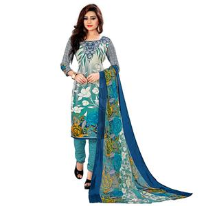 Preferable Sky Blue - Off White Colored Casual Wear Printed Leon Salwar Suit