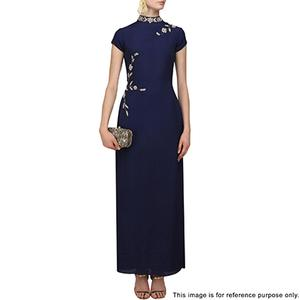 Charming Blue Partywear Designer Embroidered Faux Georgette Kurti