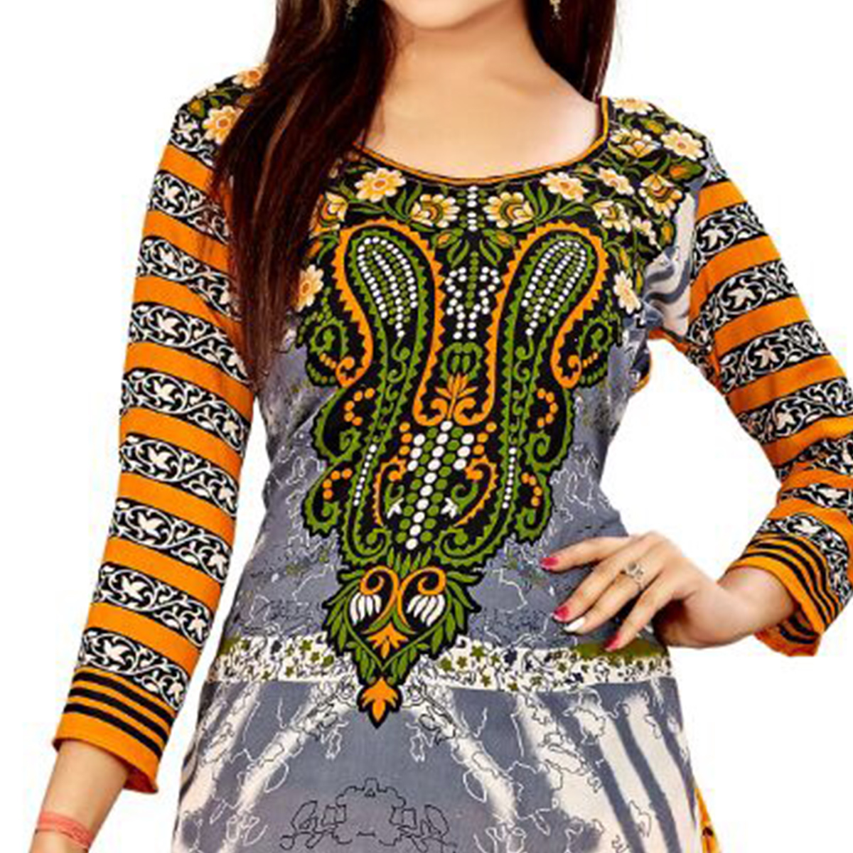Beautiful Grey - Yellow Colored Casual Wear Printed Crepe Salwar Suit