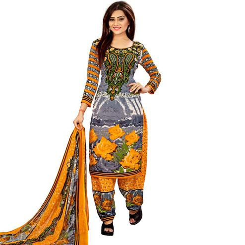 Beautiful Grey - Yellow Colored Casual Wear Printed Leon Salwar Suit