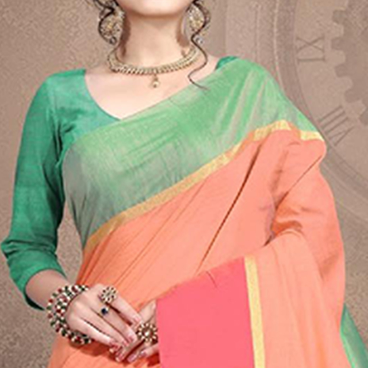 Sophisticated Peach Colored Festive Wear Cotton Saree