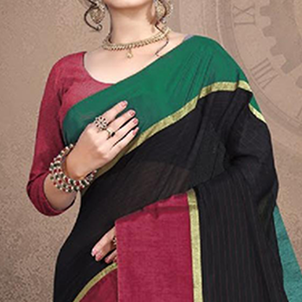 Unique Black Colored Festive Wear Cotton Saree