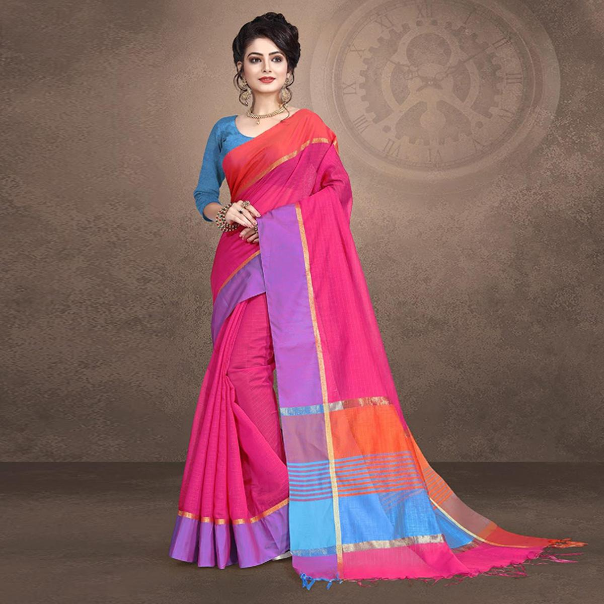 Adorning Pink Colored Festive Wear Cotton Saree