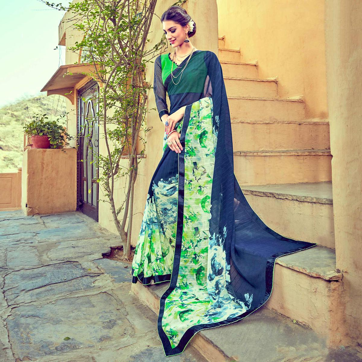 Navy Blue - Green Casual Wear Saree
