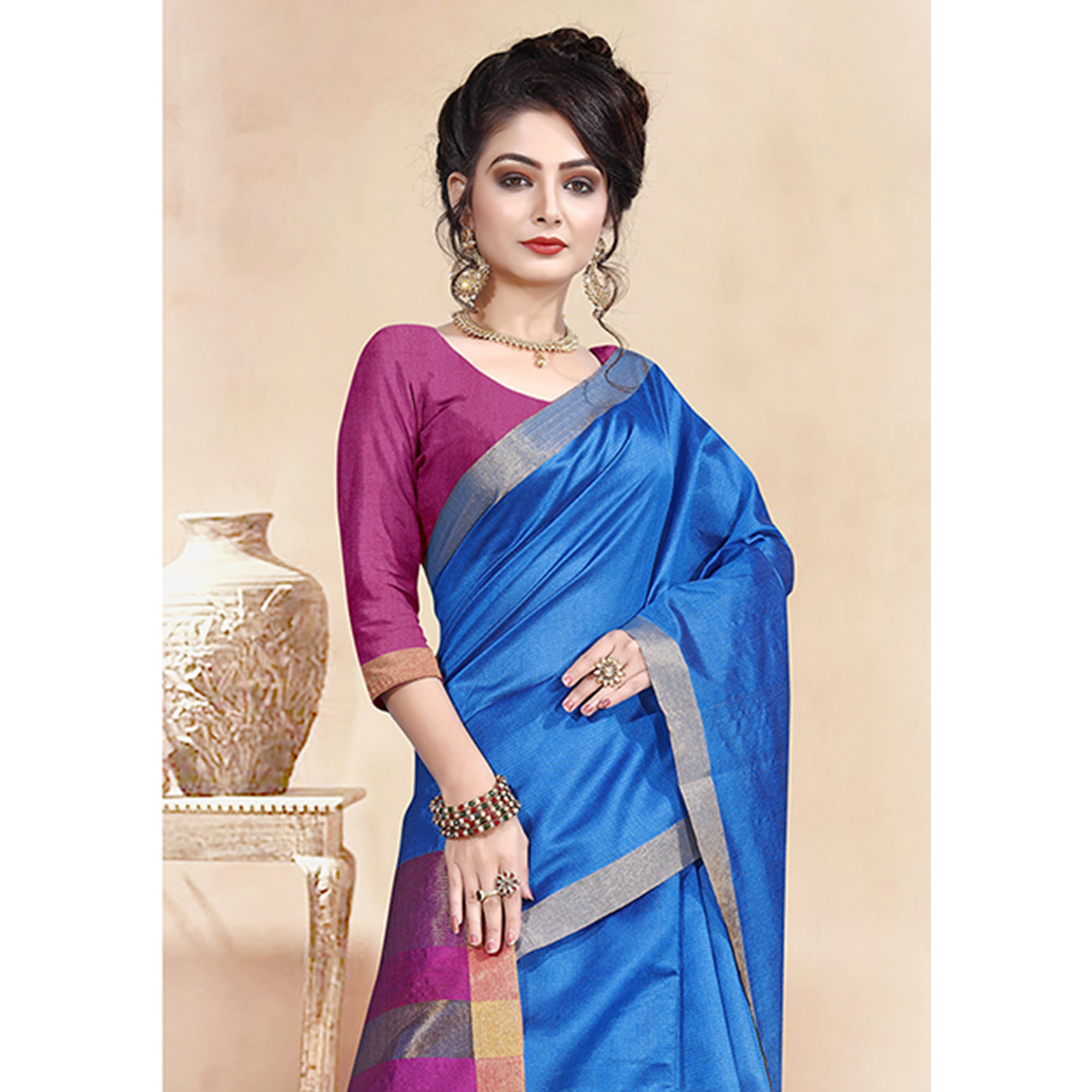 Starring Blue Colored Festive Wear Cotton Silk Saree