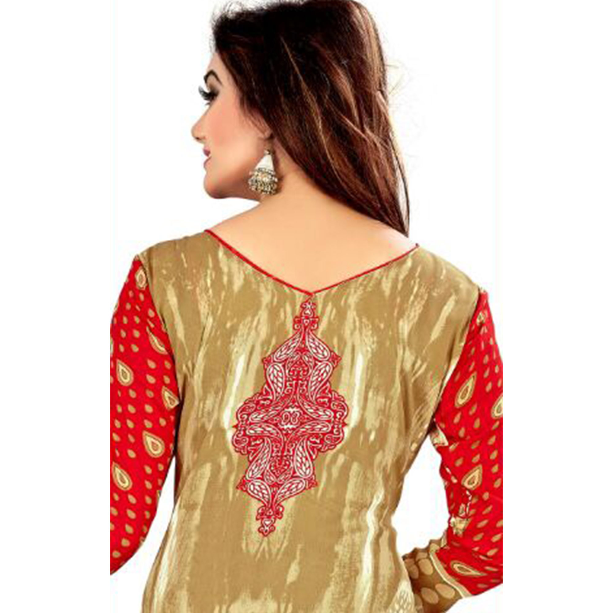 Classy Beige - Red Colored Casual Wear Printed Crepe Salwar Suit