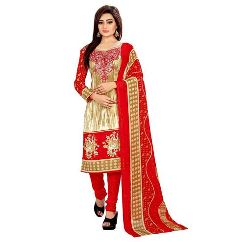 Classy Beige - Red Colored Casual Wear Printed Leon Salwar Suit