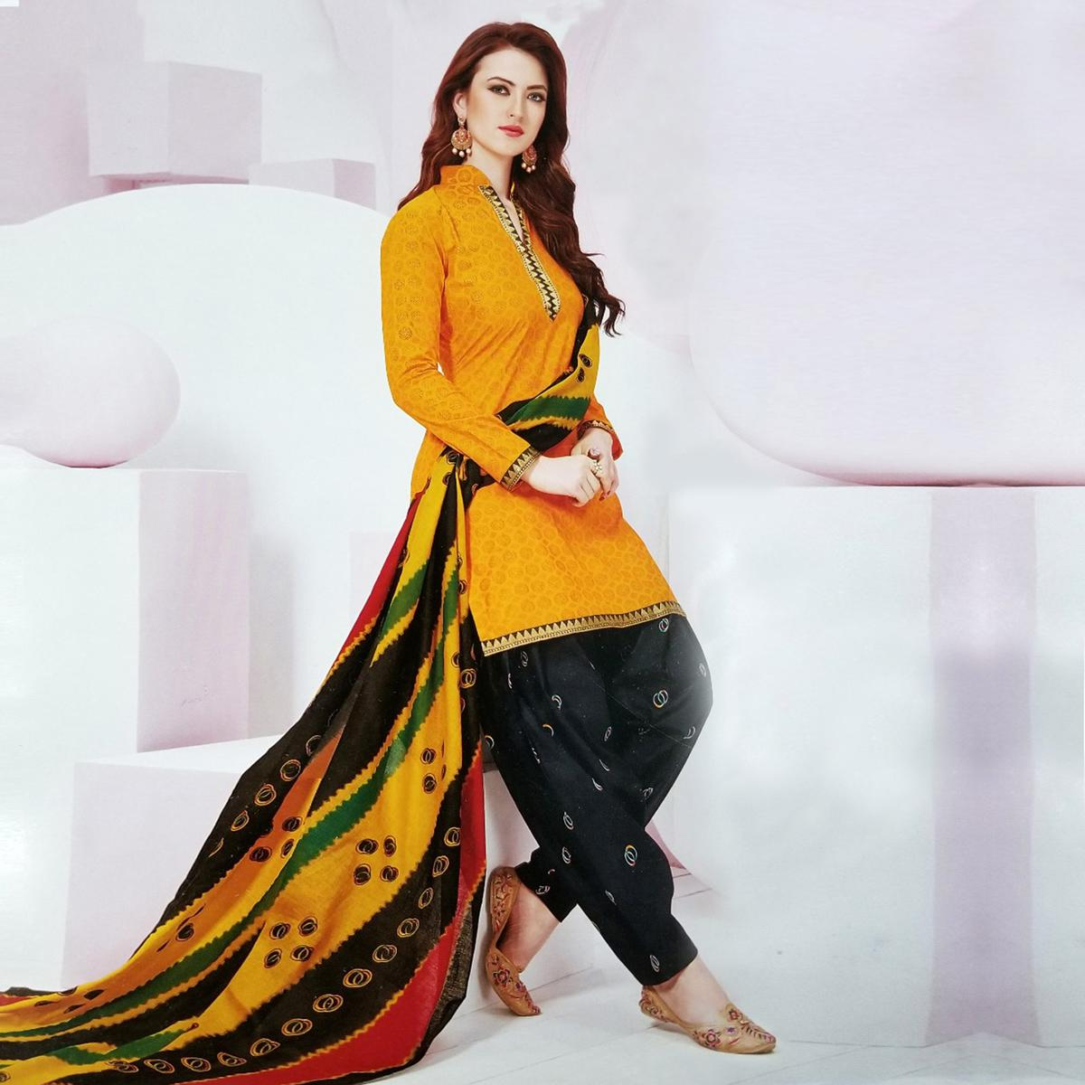 Entrancing Yellow Colored Casual Wear Printed Crape Salwar Suit