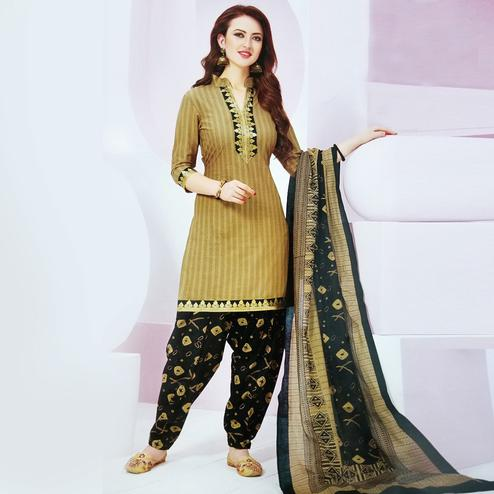 Imposing Beige Colored Casual Wear Printed Leon Salwar Suit