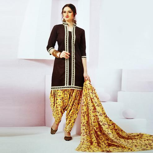 Blissful Dark Brown Colored Casual Wear Printed Crepe Salwar Suit