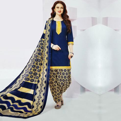 Ideal Royal Blue Colored Casual Wear Printed Leon Salwar Suit