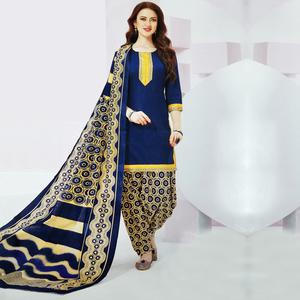 Ideal Royal Blue Colored Casual Wear Printed Crepe Salwar Suit