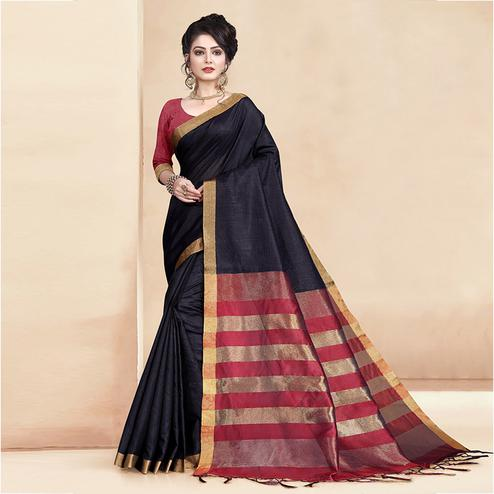 Surpassing Black Colored Festive Wear Cotton Silk Saree