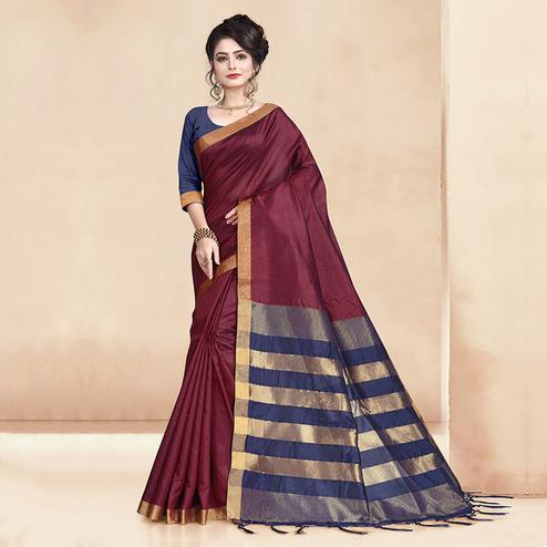 Entrancing Wine Colored Festive Wear Cotton Silk Saree