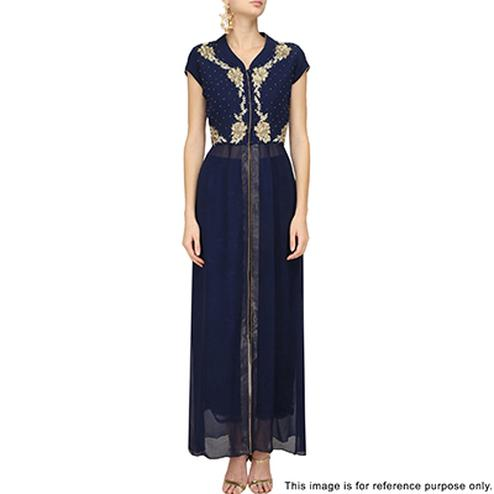 Stylish Blue Partywear Designer Embroidered Faux Georgette Kurti