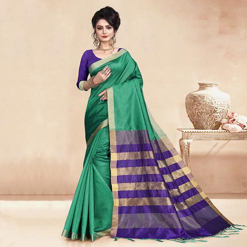 Imposing Green Colored Festive Wear Cotton Silk Saree