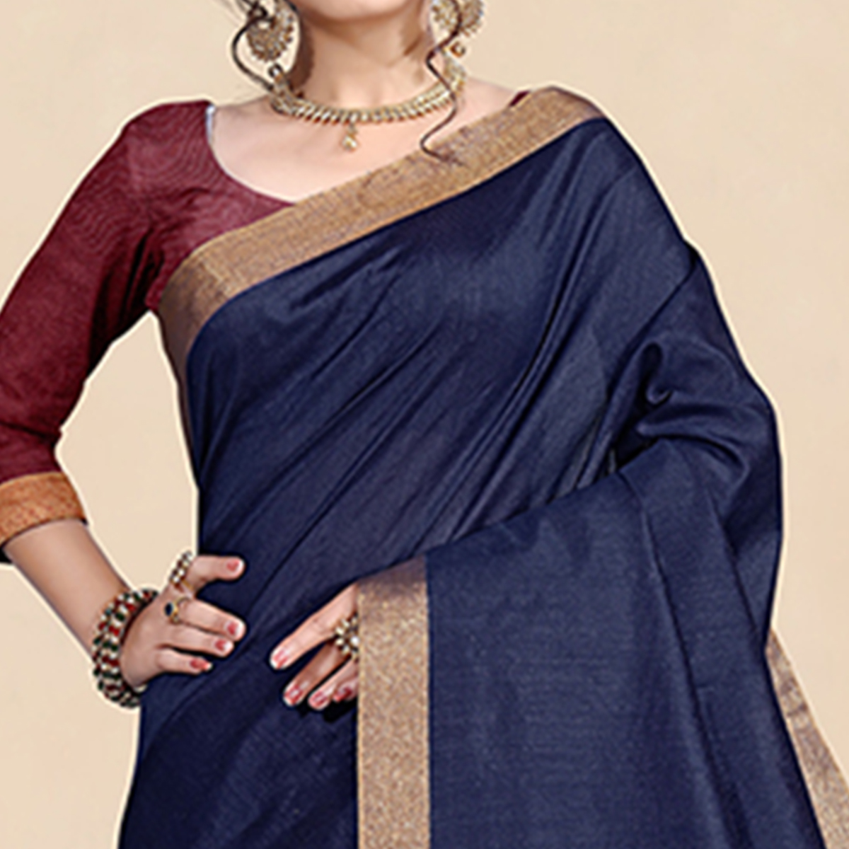 Blissful Navy Blue Colored Festive Wear Cotton Silk Saree