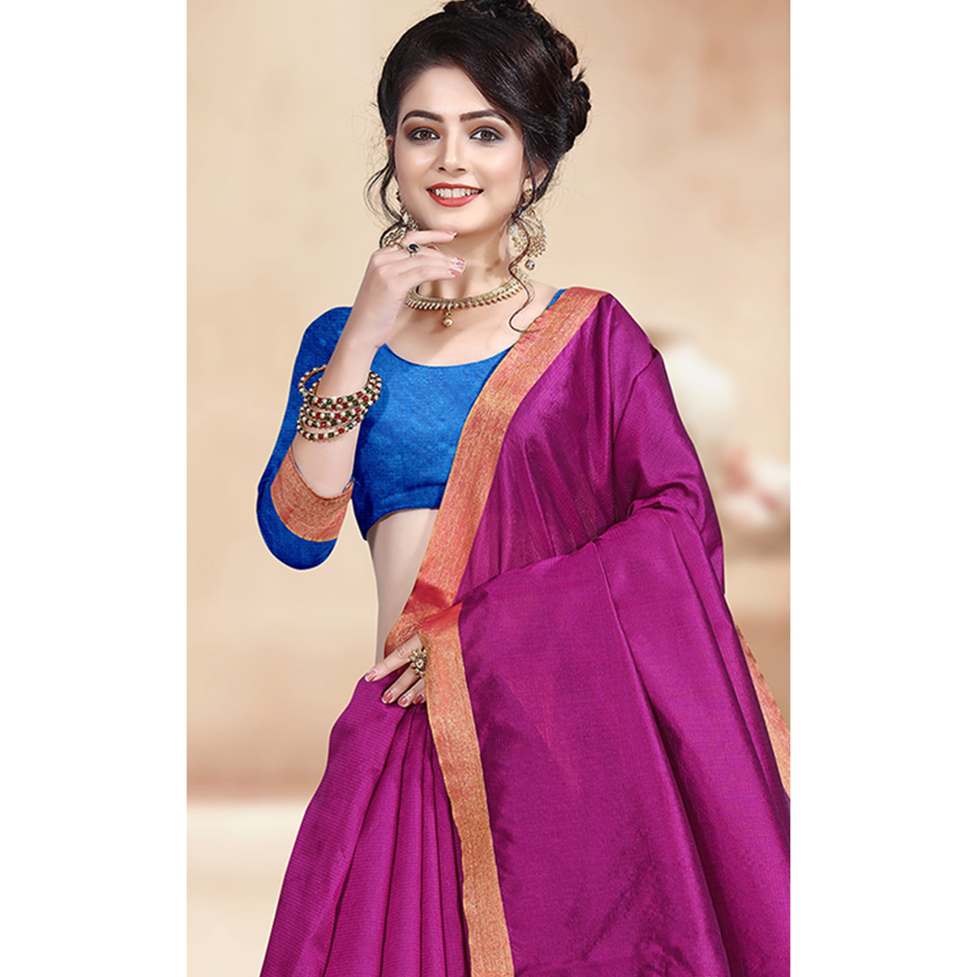 Ideal Pink Colored Festive Wear Cotton Silk Saree