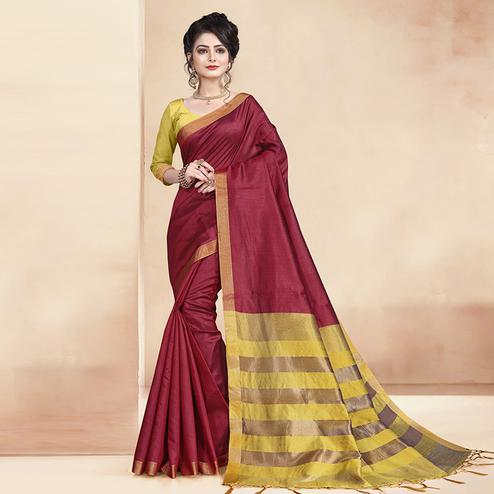 Engrossing Maroon Colored Festive Wear Cotton Silk Saree