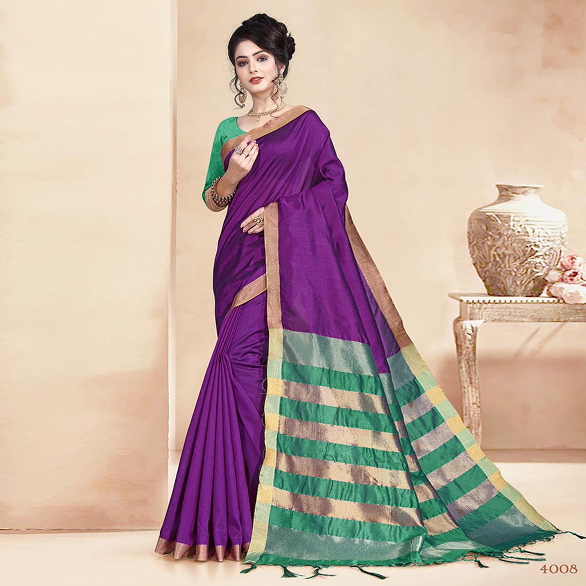 Fantastic Purple Colored Festive Wear Cotton Silk Saree