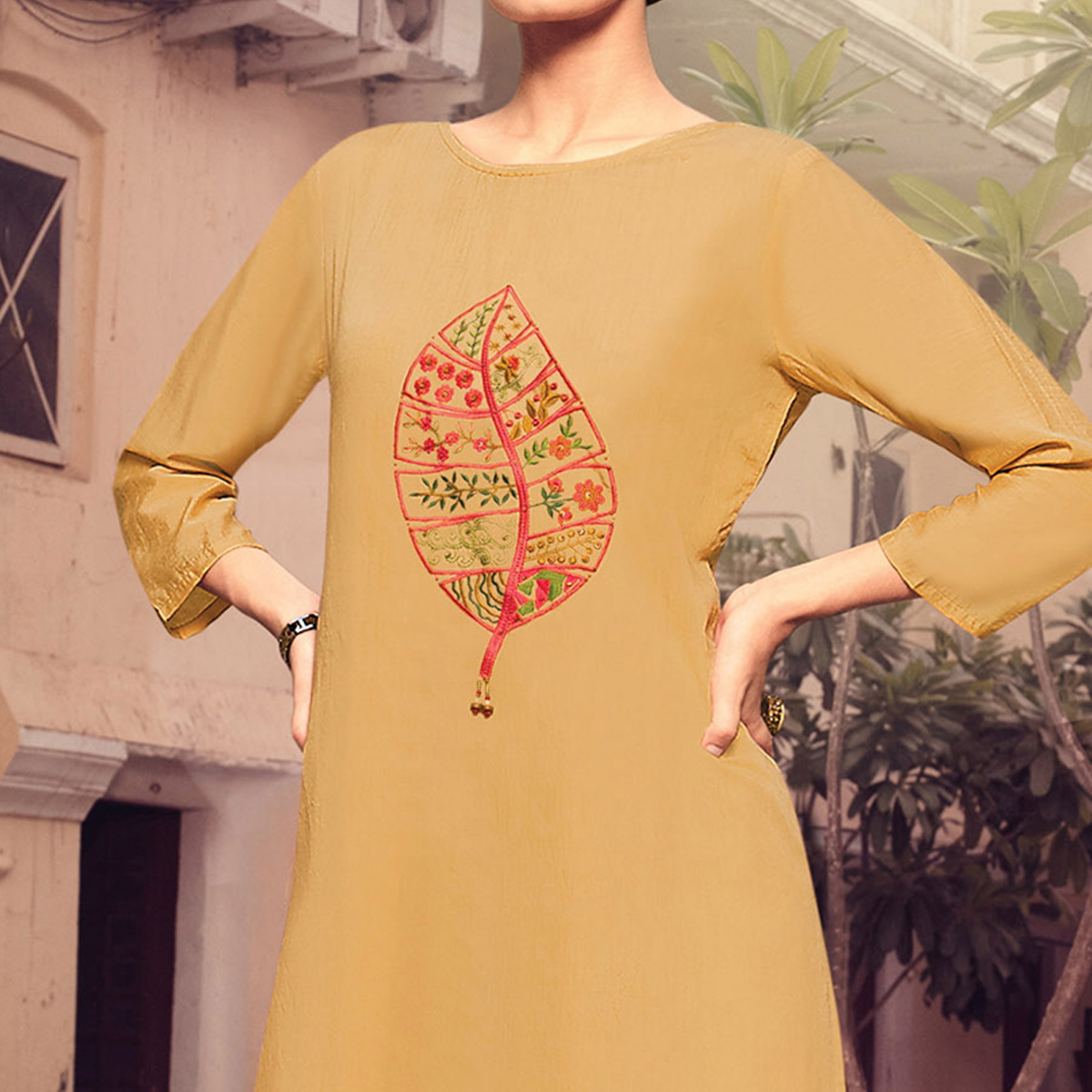 Mesmerising Beige Colored Party Wear Embroidered Cotton Silk Kurti-Bottom Set