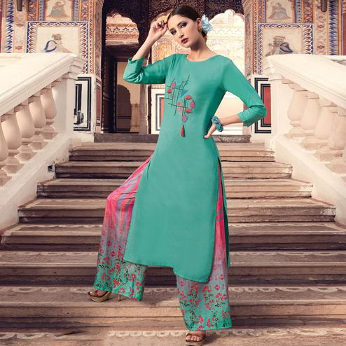 Ravishing Turquoise Blue Colored Party Wear Embroidered Cotton Silk Kurti-Bottom Set