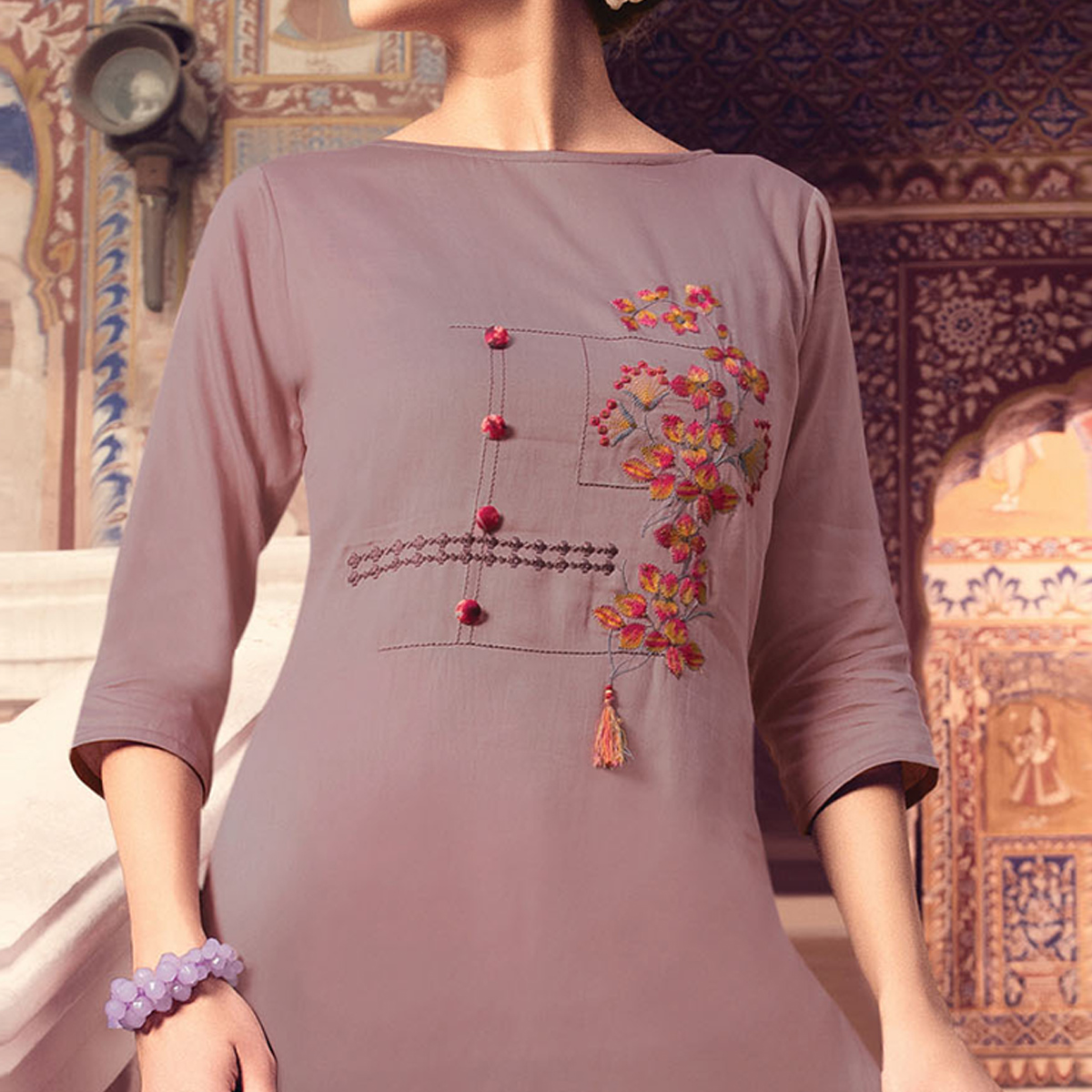 Eye-catching Mauve Colored Party Wear Embroidered Cotton Silk Kurti-Bottom Set