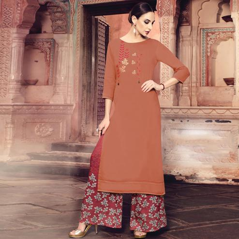 Amazing Rust Orange Colored Party Wear Embroidered Cotton Silk Kurti-Bottom Set