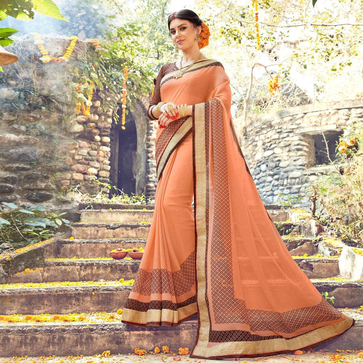 Peach Casual Wear Printed Saree