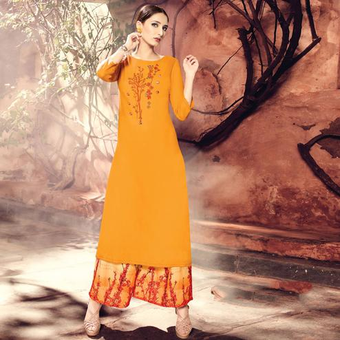 Majesty Mustard Yellow Colored Party Wear Embroidered Cotton Silk Kurti-Bottom Set