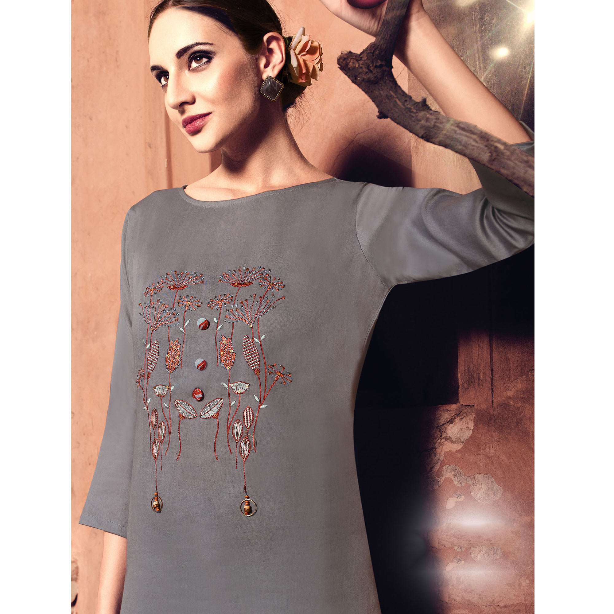 Preferable Grey Colored Party Wear Embroidered Cotton Silk Kurti-Bottom Set