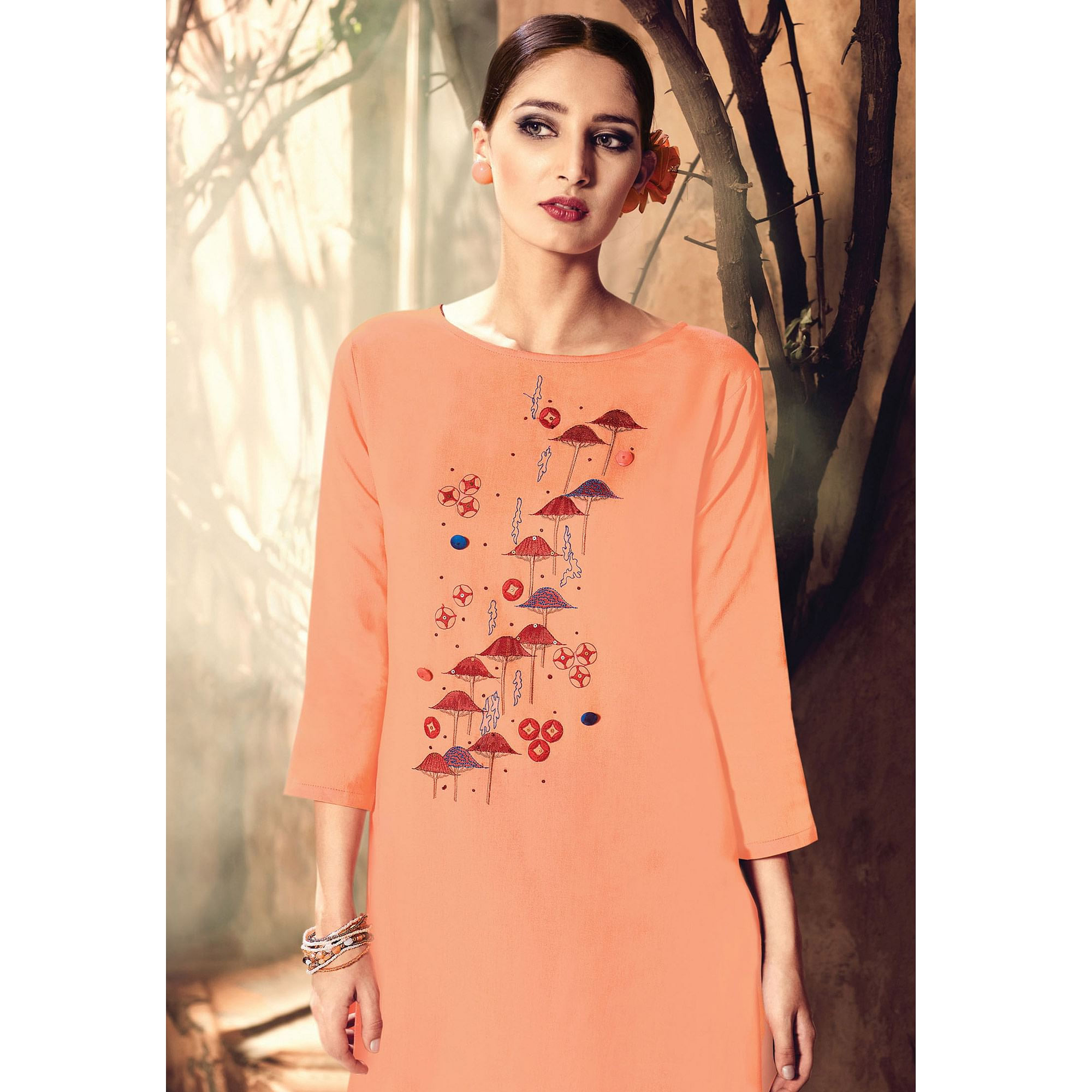 Attractive Peach Colored Party Wear Embroidered Cotton Silk Kurti-Bottom Set