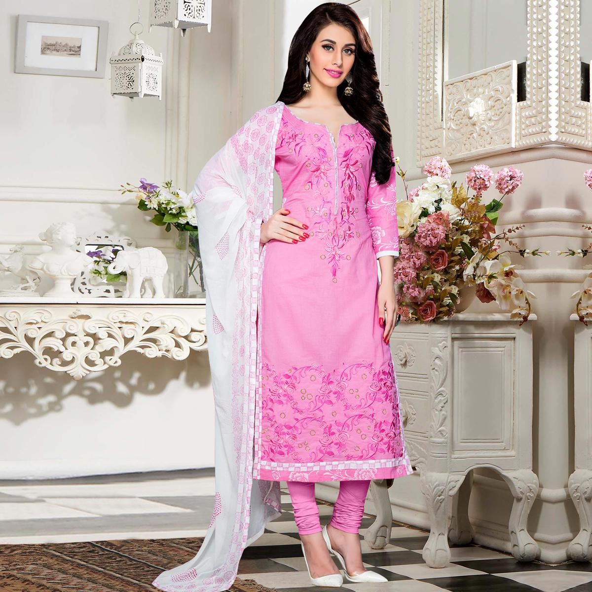 Marvellous Pink Colored Party Wear Embroidered Cotton Dress Material