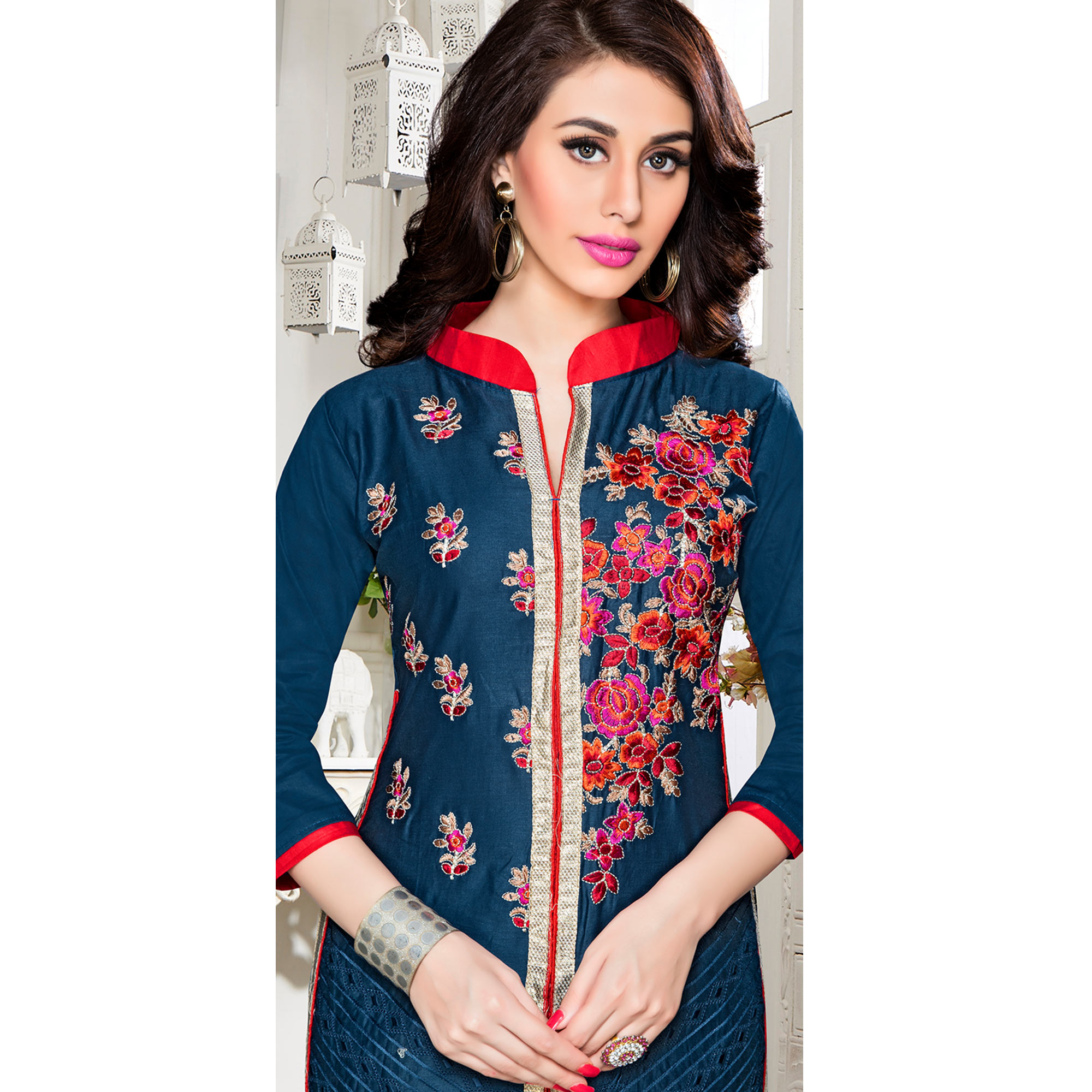 Mesmerising Navy Blue Colored Party Wear Embroidered Cotton Dress Material