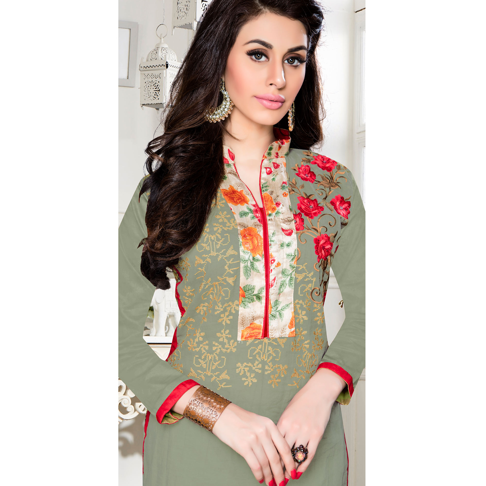 Ravishing Fern Green Colored Party Wear Embroidered Cotton Dress Material