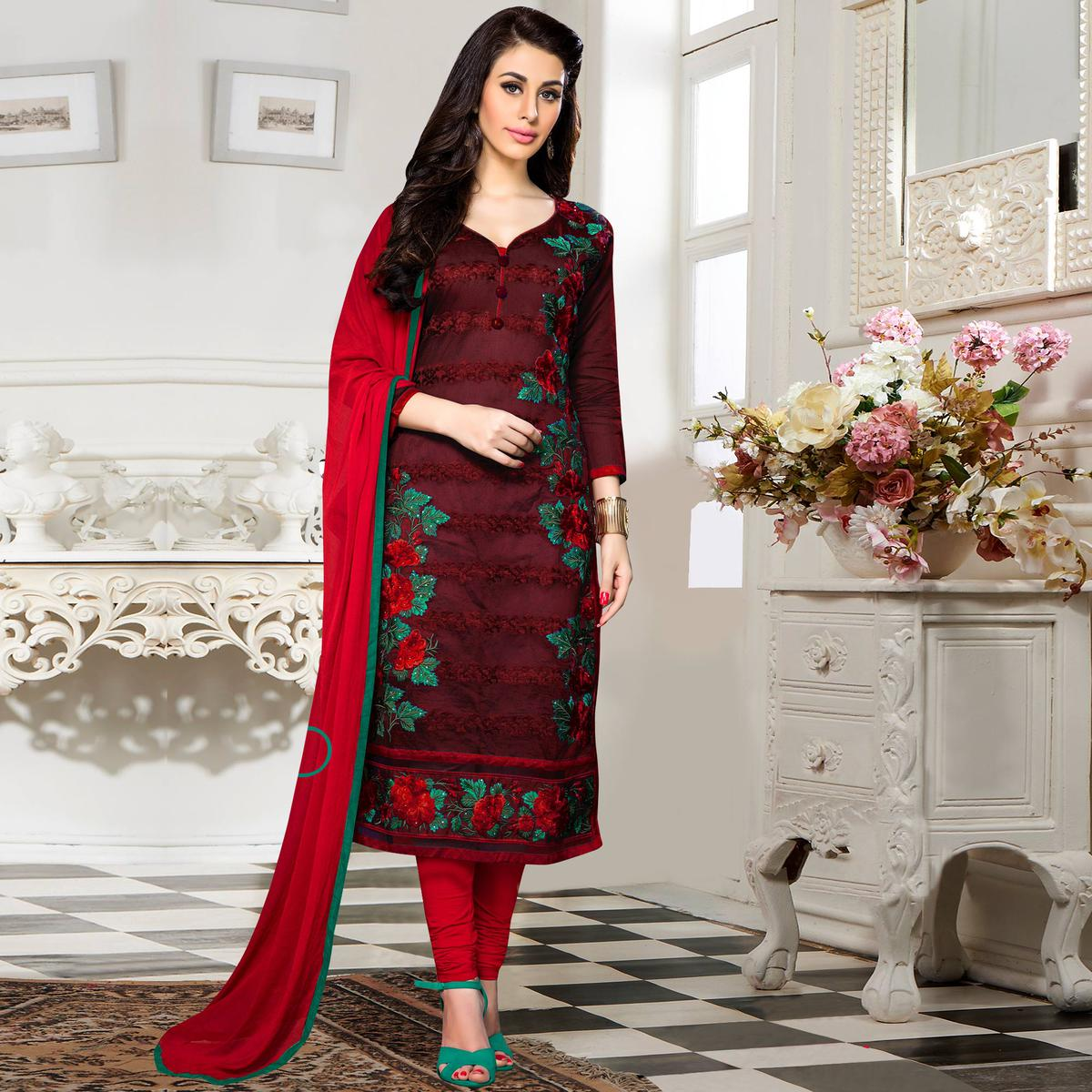 8c626c36e3 Buy Amazing Wine Colored Party Wear Embroidered Cotton Dress Material for  womens online India, Best Prices, Reviews - Peachmode