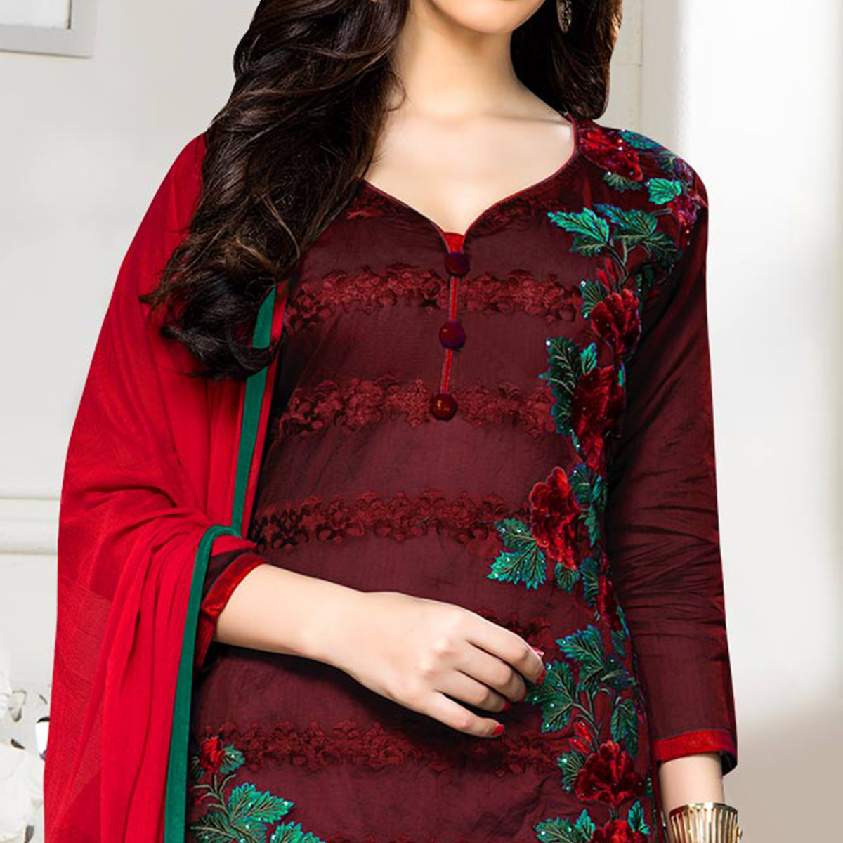 Amazing Wine Colored Party Wear Embroidered Cotton Dress Material