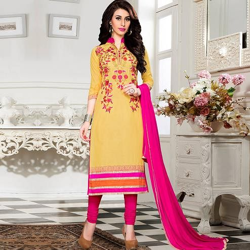 Preferable Yellow Colored Party Wear Embroidered Cotton Dress Material