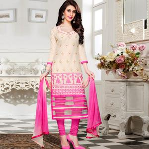 Attractive Cream Colored Party Wear Embroidered Cotton Dress Material